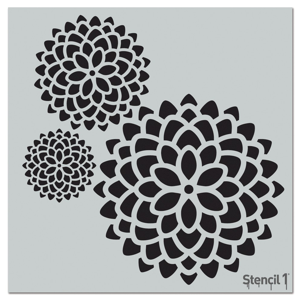 Stencil1 Mums Repeating - Wall Stencil 11 x 11, White