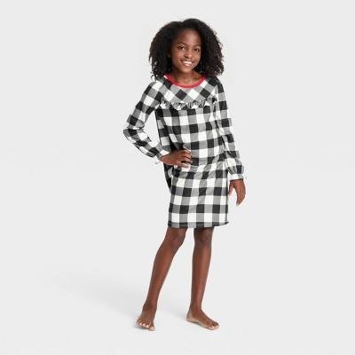 Kids' Holiday Buffalo Check Flannel Matching Family Pajamas NightGown - Wondershop™ White