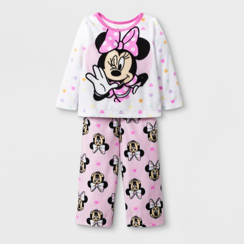 aaf182c77d6e Baby Girls  Minnie Mouse 2pc Fleece Pajama Set - White   Target