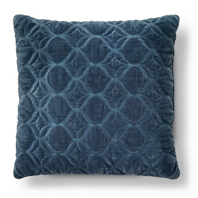 Blue Washed Velvet Square Throw Pillow (18 x18 )- Threshold™