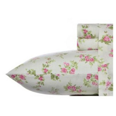 Laura Ashley Audrey Flannel Sheet Set - Pink - image 1 of 3