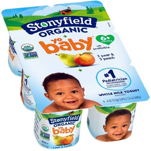 Stonyfield Organic YoBaby Peach & Pear Kids' Yogurt - 6ct/4oz Cups - image 1 of 4