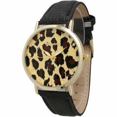 Olivia Pratt Crystal Cheetah Leather Strap Watch