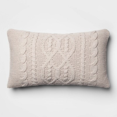 Cable Knit Chenille Oversize Lumbar Pillow Neutral - Threshold™