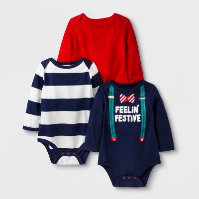 Baby Boys' 3pk Long Sleeve Bodysuits - Cat & Jack™ Navy/Red 3-6M