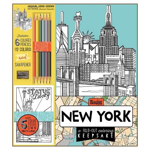 Bendon Adult Coloring Book Kit New York Target