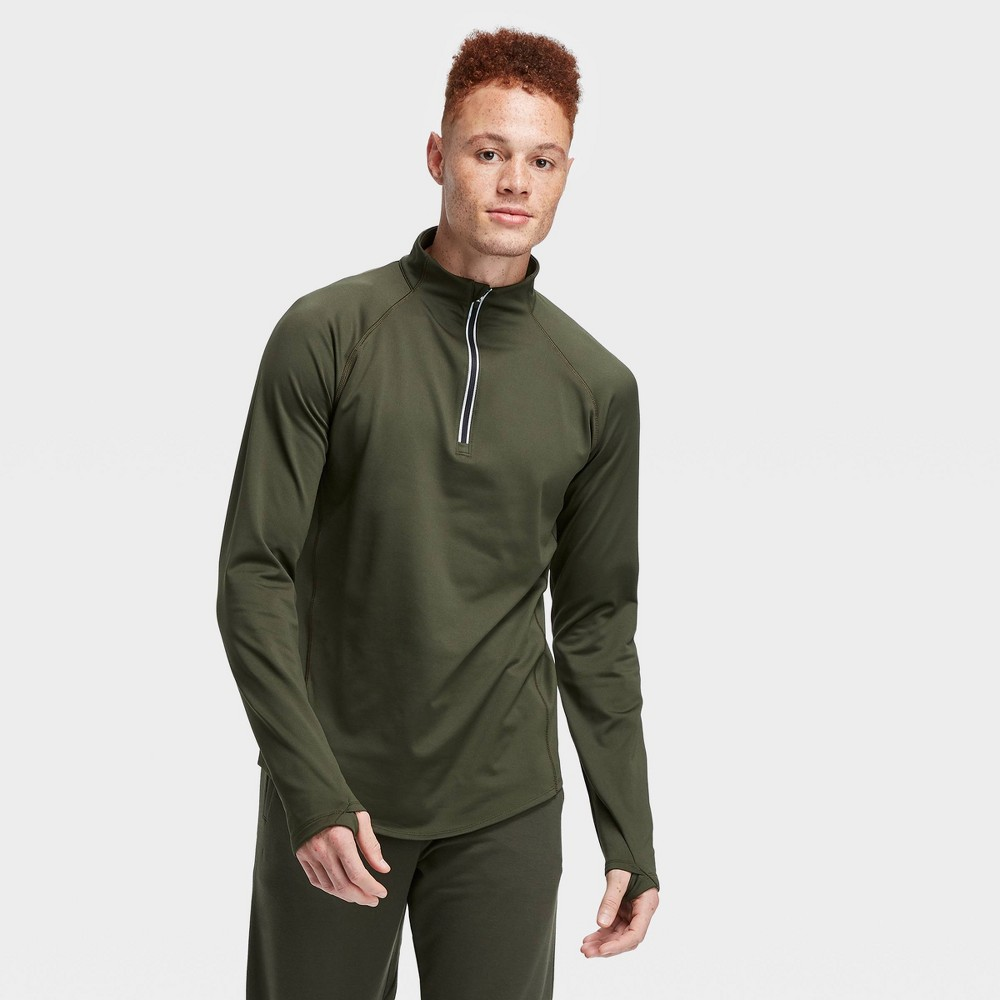 Men's Premium Layering Quarter Zip Pullover - All in Motion Olive Green M, Men's, Size: Medium, Green Green was $30.0 now $19.5 (35.0% off)