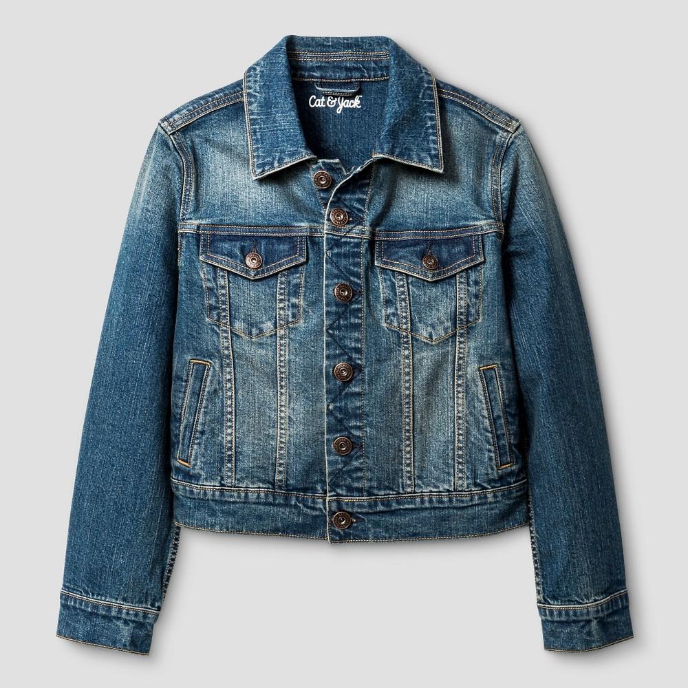 Boys' Denim Jacket - Cat & Jack Dark Wash M, Blue
