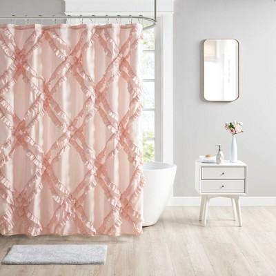 Elia Tufted Diamond Ruffle Shower Curtain Blush