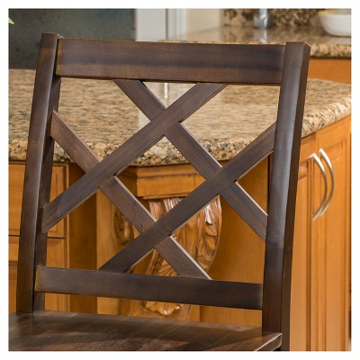 """Set Of 2 26.25"""" Naples Acacia Wood Counter Height Barstool Brown Mahogany - Christopher Knight Home : Target"""