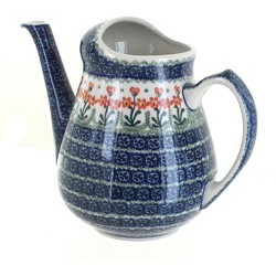Blue Rose Polish Pottery Peach Posy Watering Can