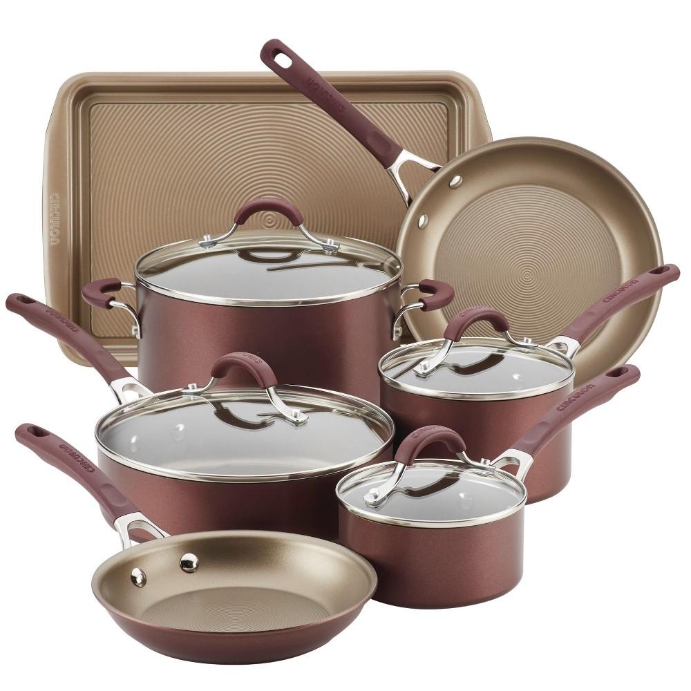 Image of Circulon Innovatum 10pc Hard-Anodized Nonstick Cookware Set + Bonus Cookie Pan Merlot, Purple