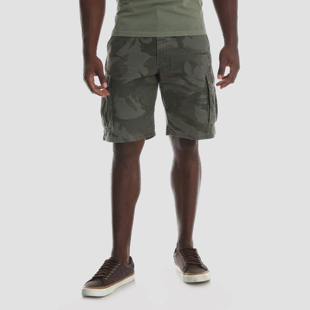 Wrangler Men's Camo Print 10 Twill Cargo Shorts - Dark Green 36, Dark Green Camo