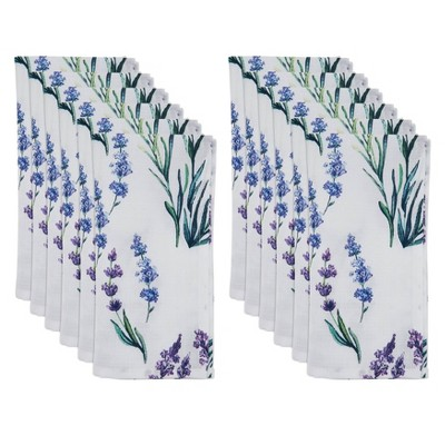 12pk Polyester Lavender Print Table Napkins - Saro Lifestyle