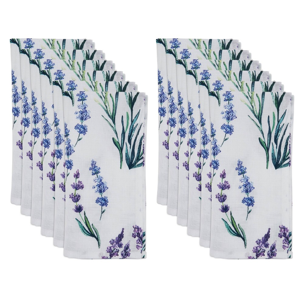 Image of 12pk Polyester Lavender Print Table Napkins - Saro Lifestyle