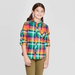 Girls' Woven Button-Down Shirt - Cat & Jack™ Green