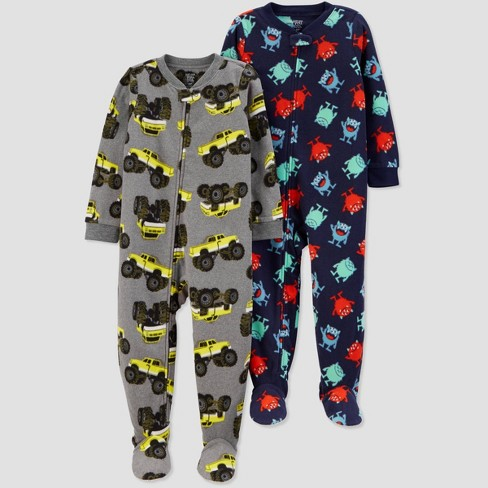 Toddler Boys' Construction Fleece One Piece Pajama - Just One You® made by carter's Gray - image 1 of 1
