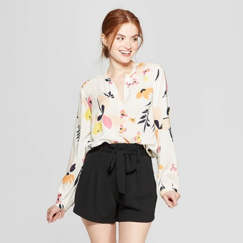 6052ecedee6ee6 Women's Floral Print Long Sleeve Popover Blouse - A New Day™ Cream : Target