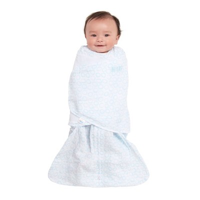 Halo Sleepsack Swaddle 100% Cotton Muslin Circles - Turquoise - SM