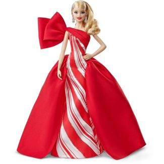 Barbie 2019 Holiday Doll, Blonde Curls with Red & White Gown