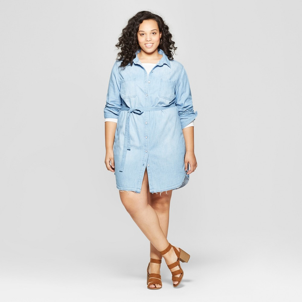 Women's Plus Size Sleeveless Collared Denim Shirtdress - Universal Thread Light Blue 1X