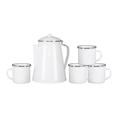Stansport Enamel 8 Cup Coffee Pot With Percolator and 4 12oz Mugs White