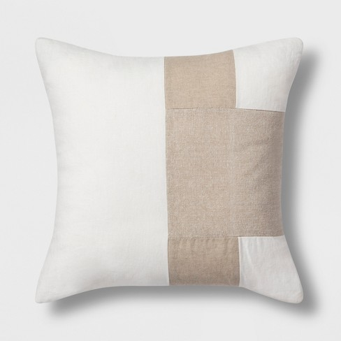 Colorblock Square Throw Pillow Neutral - Project 62™ - image 1 of 2
