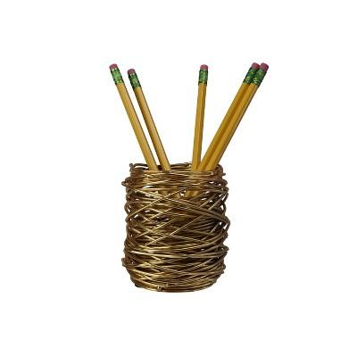 "Design Ideas WoundUp Pencil Cup – Wire Pencil Holder – Desktop Organizer – Brass, 3"" x 3"" x 4"""