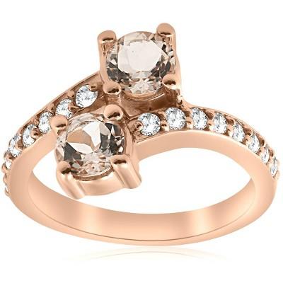 Pompeii3 1 1/2ct Morganite & Diamond 2-Stone Forever Us Engagement Ring 14k Rose Gold