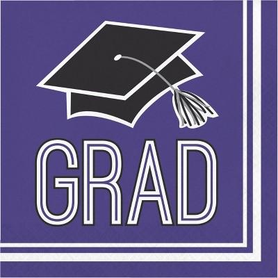 108ct Graduation School Spirit Disposable Napkins Purple