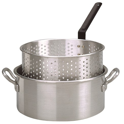 New King Kooker KK32 32-Quart Aluminum Boiling Pot with Punched Basket and Lid