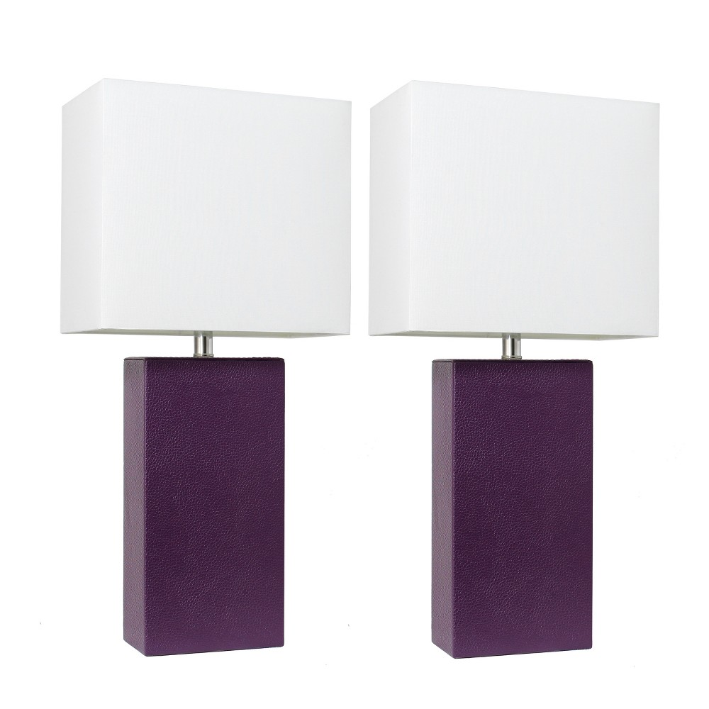 Image of 2pk Modern Leather Table Lamp Eggplant (Lamp Only) - Elegant Designs