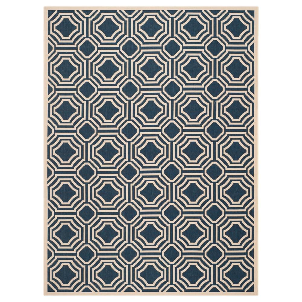 Hamina 9' x 12' Outdoor Rug Navy/Beige - Safavieh, Blue