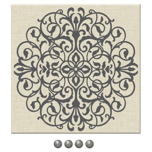 """Wall Pops!  Canvas Bulletin Board 16"""" x 16"""" - Medallion - image 1 of 1"""