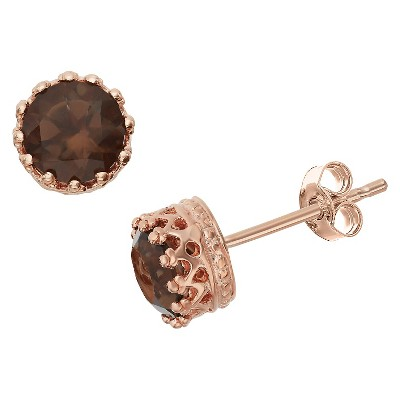 6mm Round-cut Smoky Quartz Crown Earrings in Rose Gold Over Silver