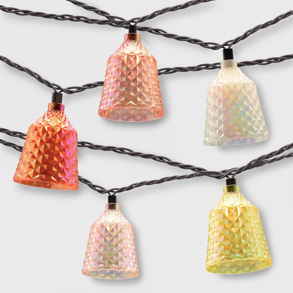 10ct Outdoor Textured Color Hood String Lights - Opalhouse