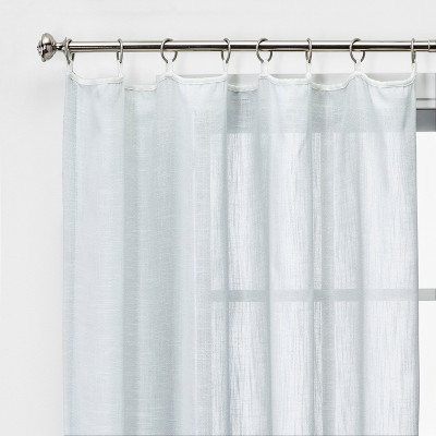 """84""""x54"""" Feather Sheer Window Curtain Panel with Contrast Edge Rings Gray/White - Threshold™"""