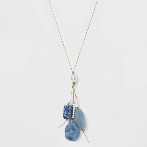 Adjustable Cord and Semi-Precious Cluster Pendant Necklace - Universal Thread™ - image 1 of 3