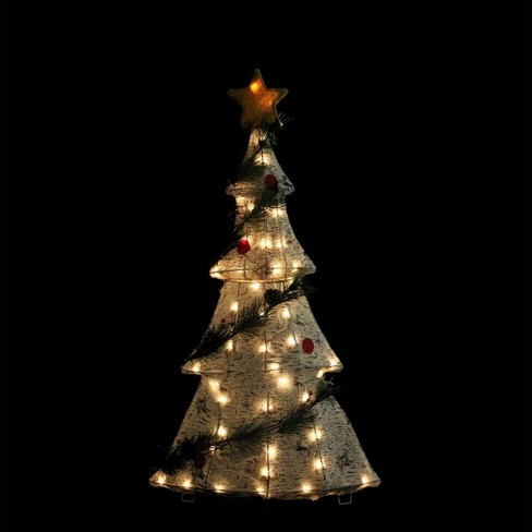 Northlight 42 Lighted 2 D Country Rustic Birch Christmas Tree Decoration Clear Lights Target
