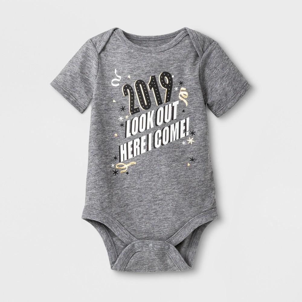 Baby Short Sleeve '2019' Bodysuit - Cat & Jack Heather Gray 3-6M, Infant Unisex
