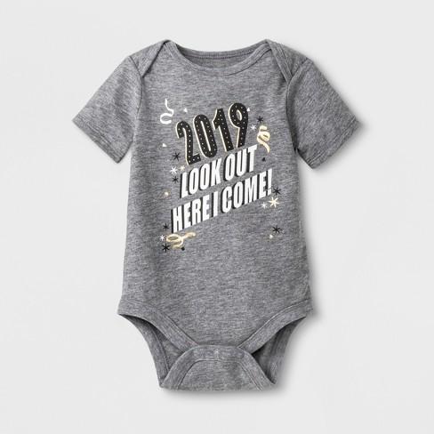 0e2f88730 Baby Girls' Short Sleeve '2019' Bodysuit - Cat & Jack™ Heather Gray ...