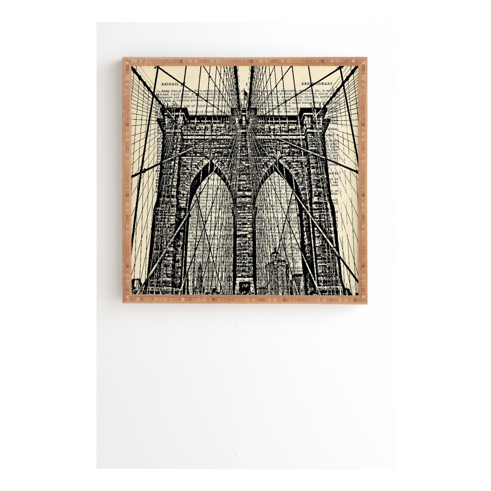 Darkislandcity Brooklyn Bridge On Dictionary Paper Framed Wall Art 20