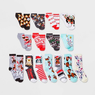 Women's Holiday Dogs 15 Days of Socks Advent Calendar - Assorted Colors 4-10