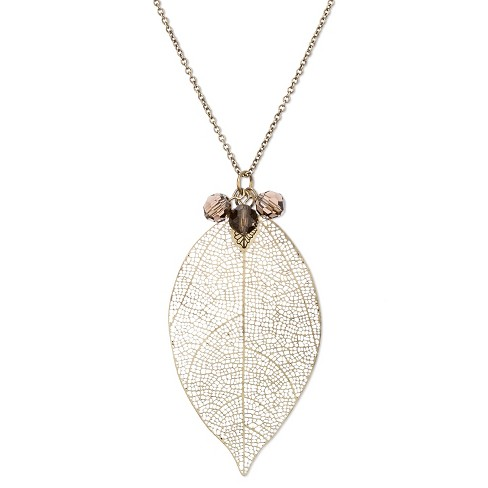 "Women's Long Pendant Necklace with Filigree Leaf - Brass (34"") - image 1 of 2"