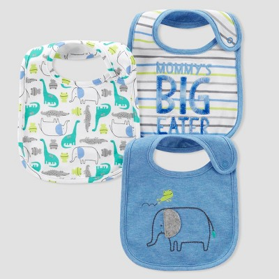 Baby Boys' 3pk Big Eater Bibs - Just One You® made by carter's Blue One Size