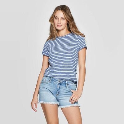 Women's Short Sleeve Crewneck Side Wrap T Shirt   Universal Thread Blue/White by Shirt