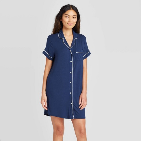 Women's Short Sleeve Beautifully Soft Notch Collar Nightgown - Stars Above™ - image 1 of 2