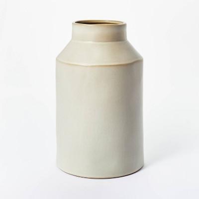 "10"" x 6"" Carved Ceramic Vase Gray - Threshold™ designed with Studio McGee"