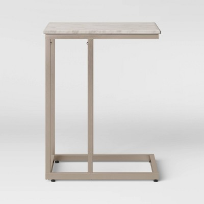 Greenwich Square Marble Top C Table with Nickel Base Natural - Threshold™