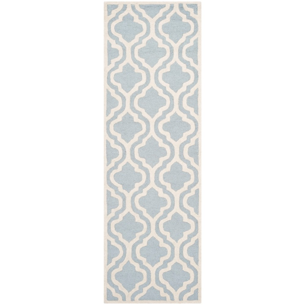 Tufted Quatrefoil Design Area Rug Light Blue